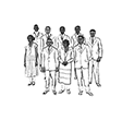 Drawn rendering from photograph of Lincoln Hign School's first graduating class